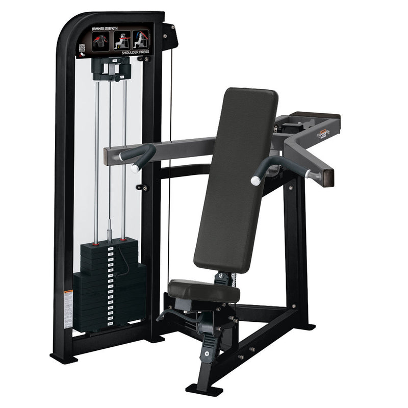 Hammer Strength Select Shoulder Press in black and titanium.