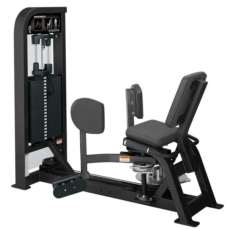 Hammer Strength Select Hip Adduction in black and titanium.