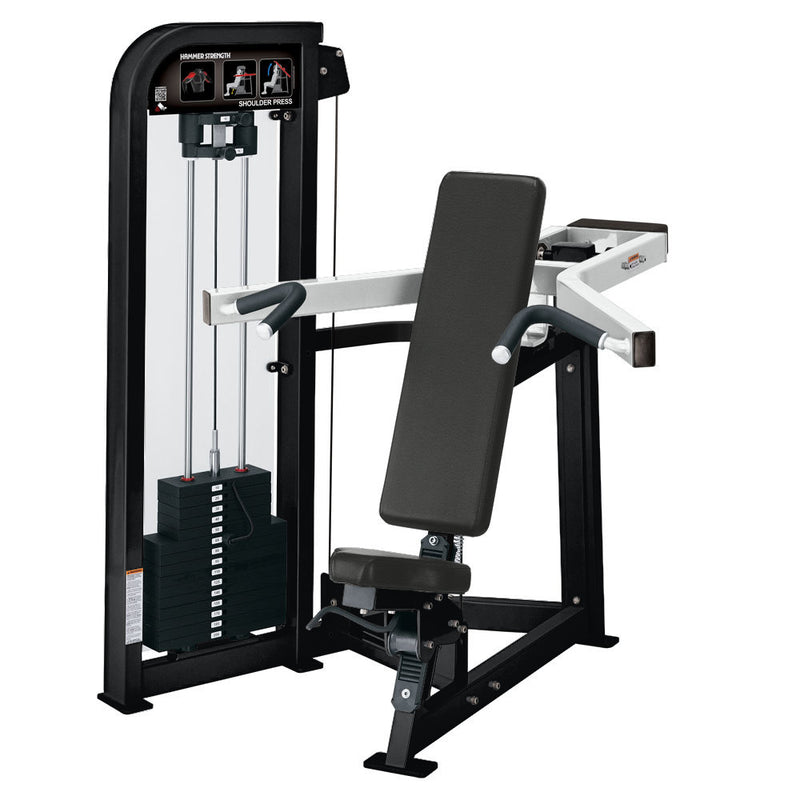 Hammer Strength Select Shoulder Press in black and white.