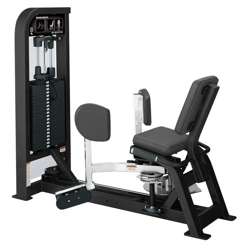 Hammer Strength Select Hip Adduction in black and white.
