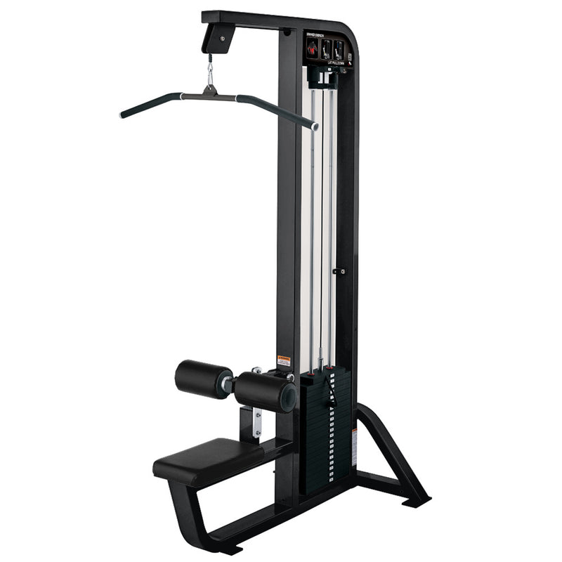 Hammer Strength Select Lat Pulldown in black with black leather.