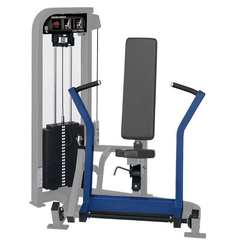 Hammer Strength Select Chest Press in platinum and blue.