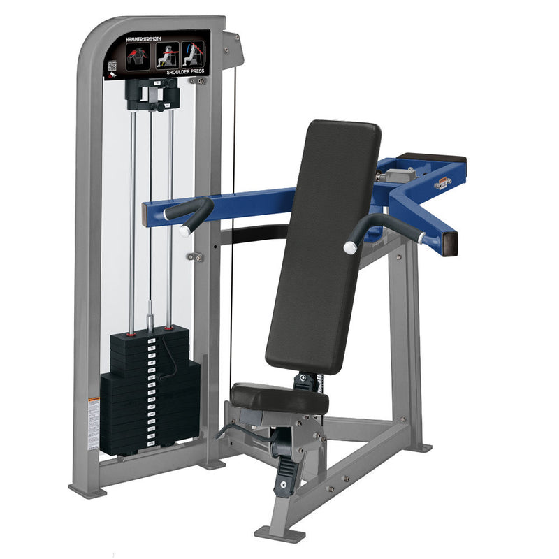 Hammer Strength Select Shoulder Press in platinum and  blue.
