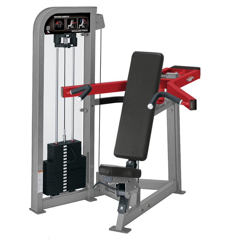 Hammer Strength Select Shoulder Press in platinum and red.