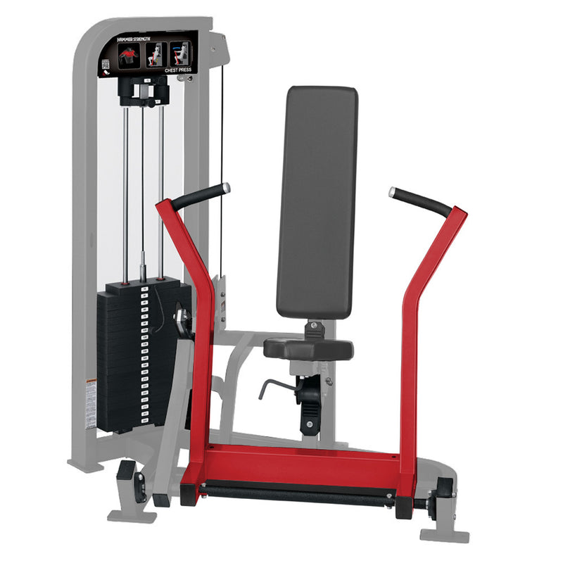 Hammer Strength Select Chest Press in platinum and red.