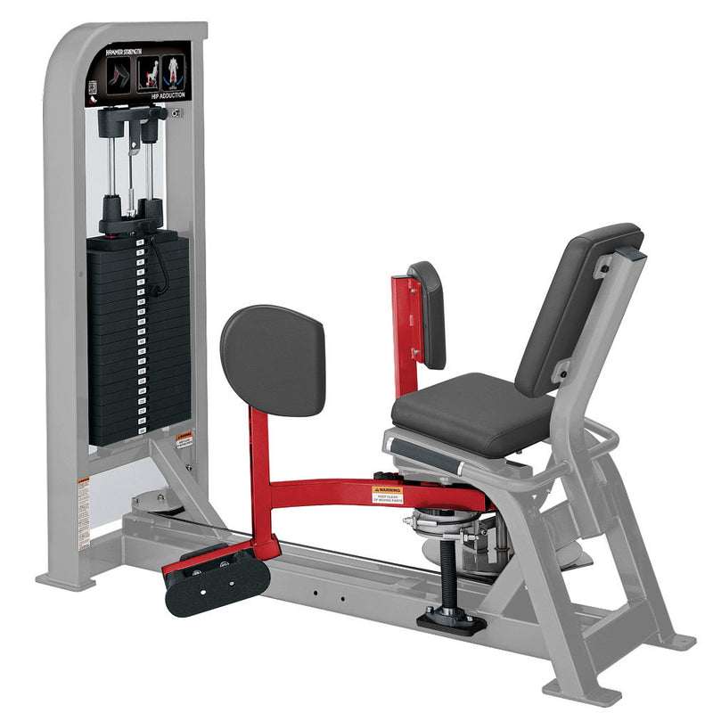 Hammer Strength Select Hip Adduction in platinum and red.