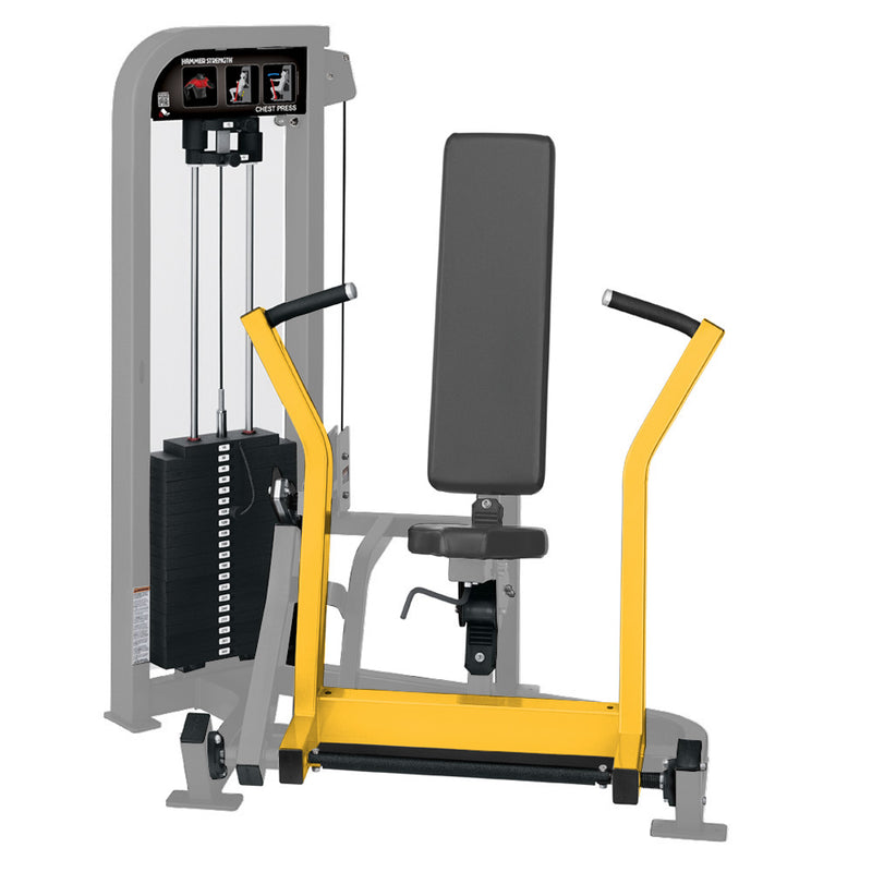 Hammer Strength Select Chest Press in platinum and yellow.