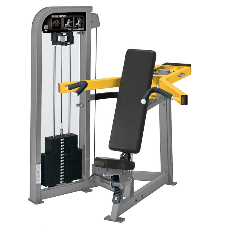 Hammer Strength Select Shoulder Press in platinum and yellow.