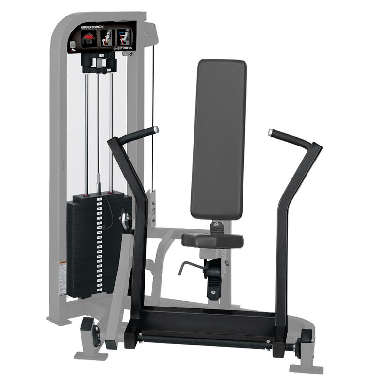 Hammer Strength Select Chest Press in platinum and black.