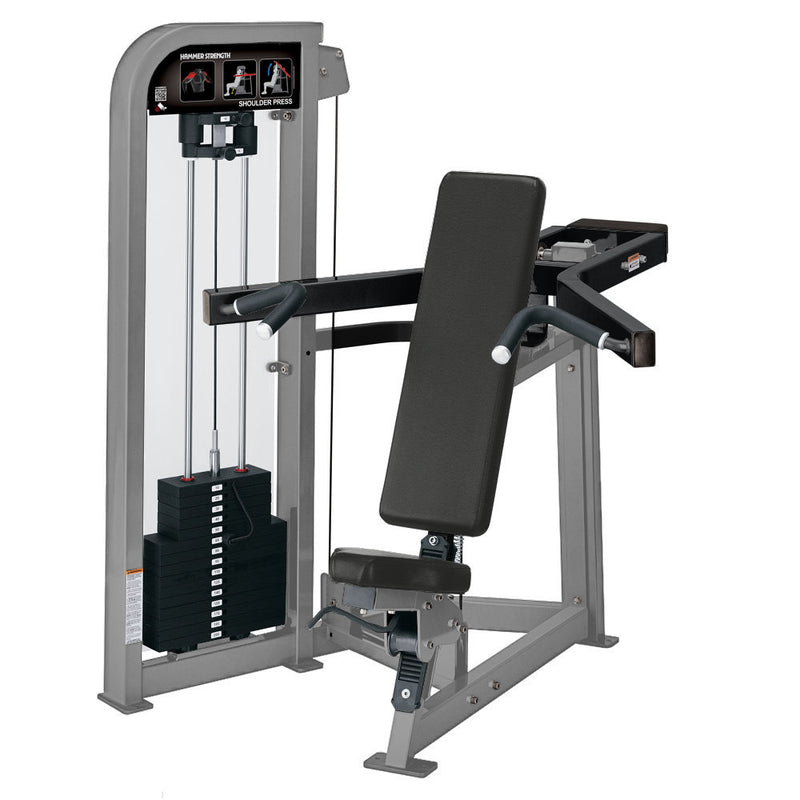 Hammer Strength Select Shoulder Press in platinum and black.