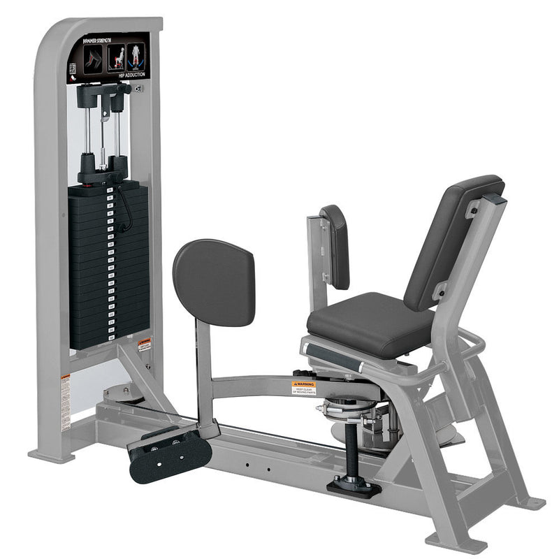 Hammer Strength Select Hip Adduction in all platinum.