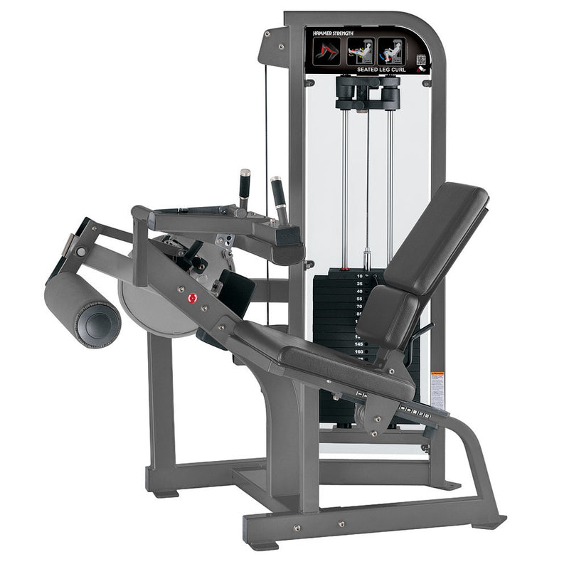 Hammer Strength Select Seated Leg Curl in platinum with slate leather.