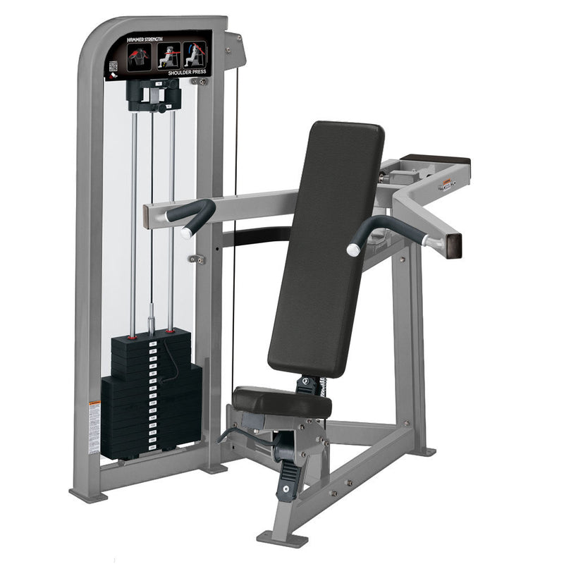 Hammer Strength Select Shoulder Press in all platinum.