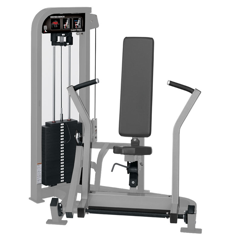 Hammer Strength Select Chest Press in all platinum.