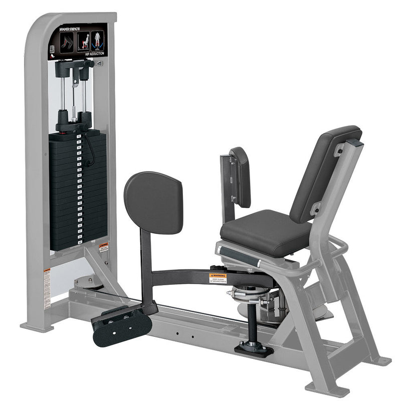 Hammer Strength Select Hip Adduction in platinum and titanium.