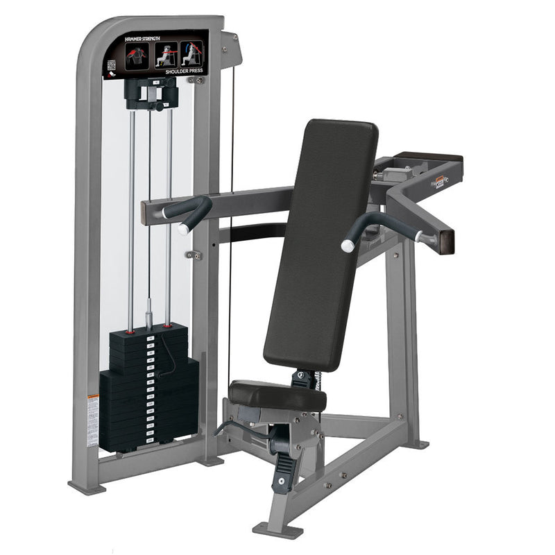 Hammer Strength Select Shoulder Press in platinum and titanium.
