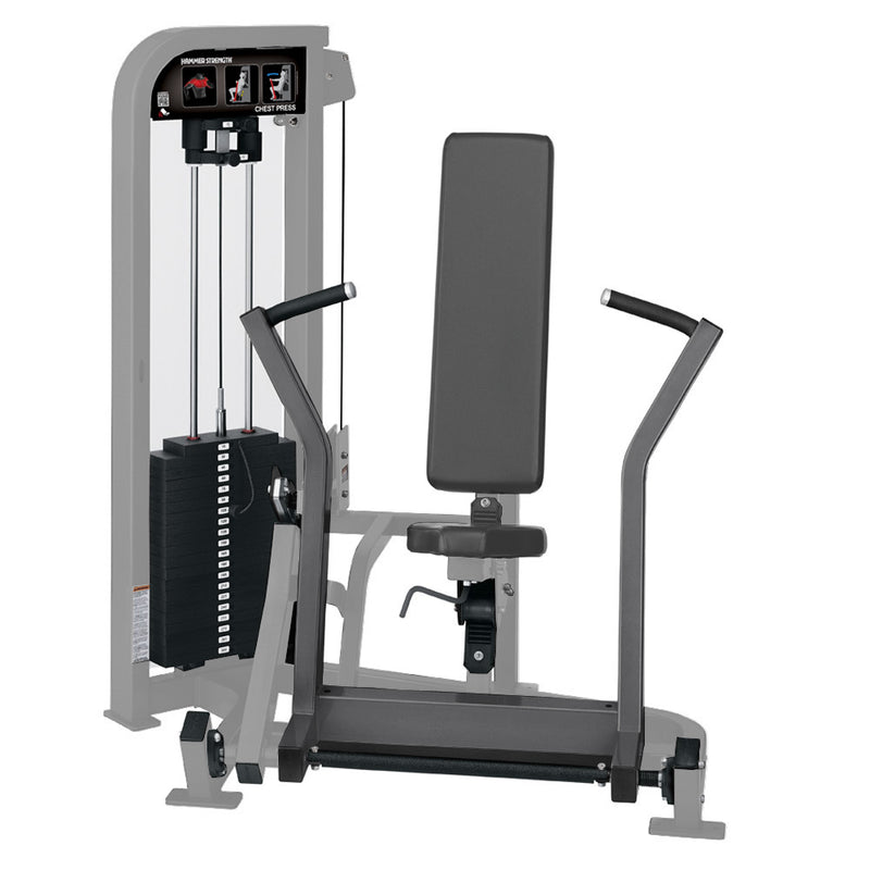 Hammer Strength Select Chest Press in platinum and titanium.