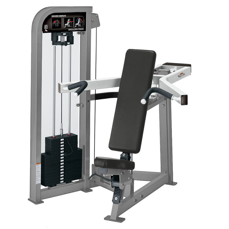 Hammer Strength Select Shoulder Press in platinum and white.