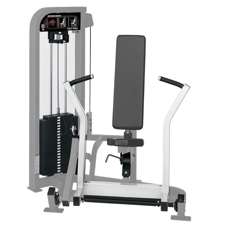 Hammer Strength Select Chest Press in platinum and white.