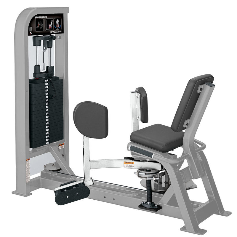 Hammer Strength Select Hip Adduction in platinum and white.