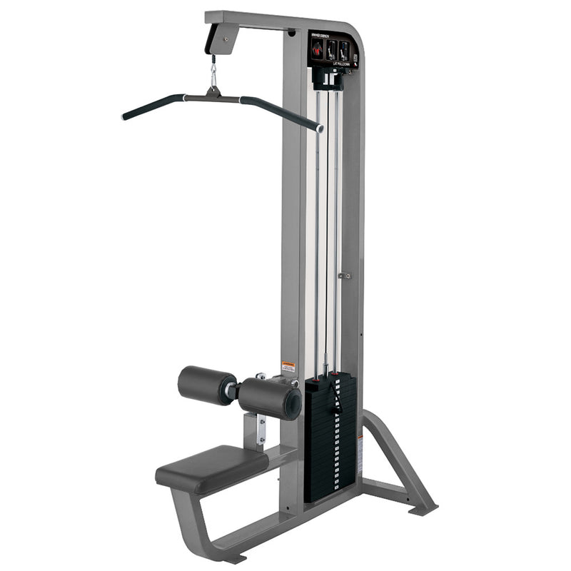 Hammer Strength Select Lat Pulldown in platinum with slate leather.