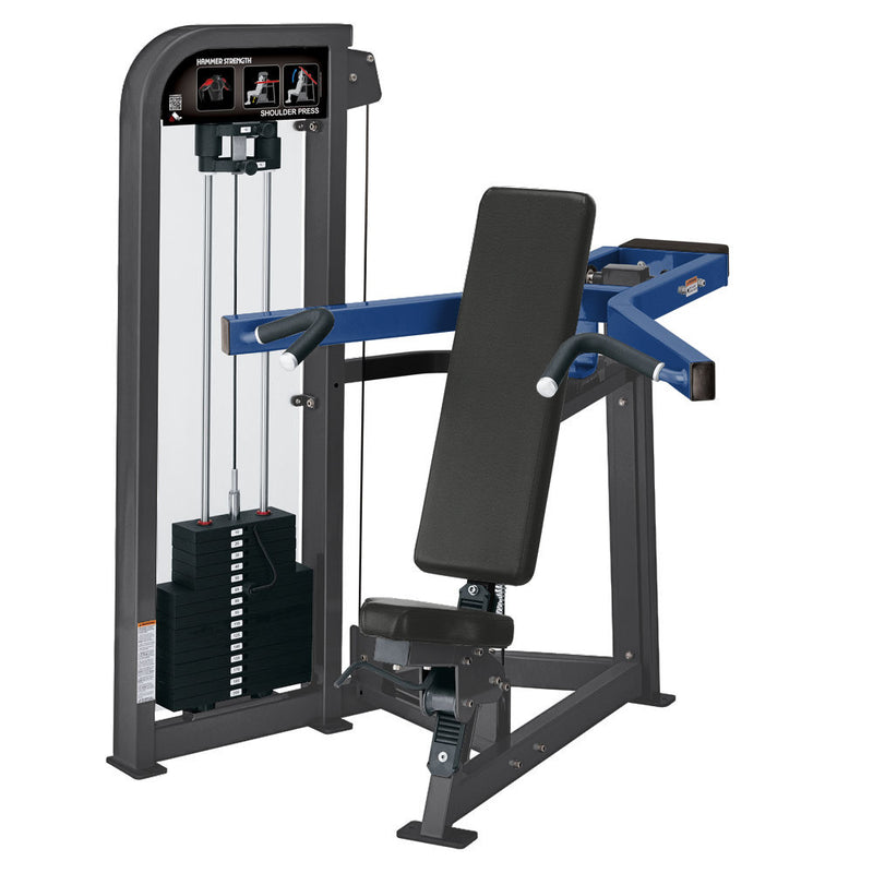 Hammer Strength Select Shoulder Press in titanium and blue.