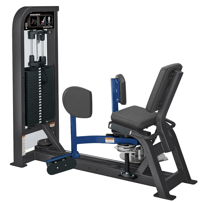 Hammer Strength Select Hip Adduction in titanium and blue.