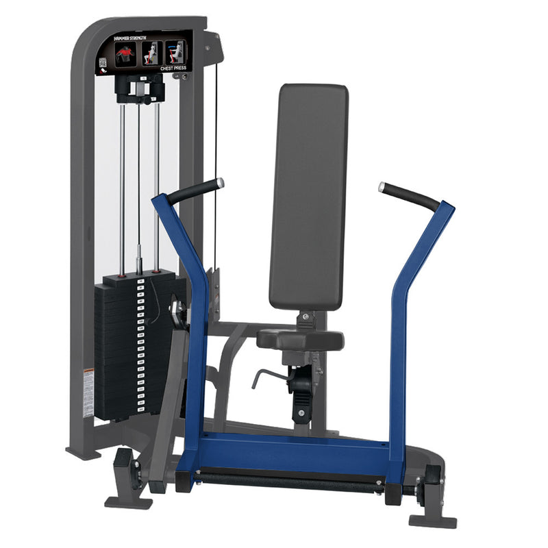 Hammer Strength Select Chest Press in titanium and blue.