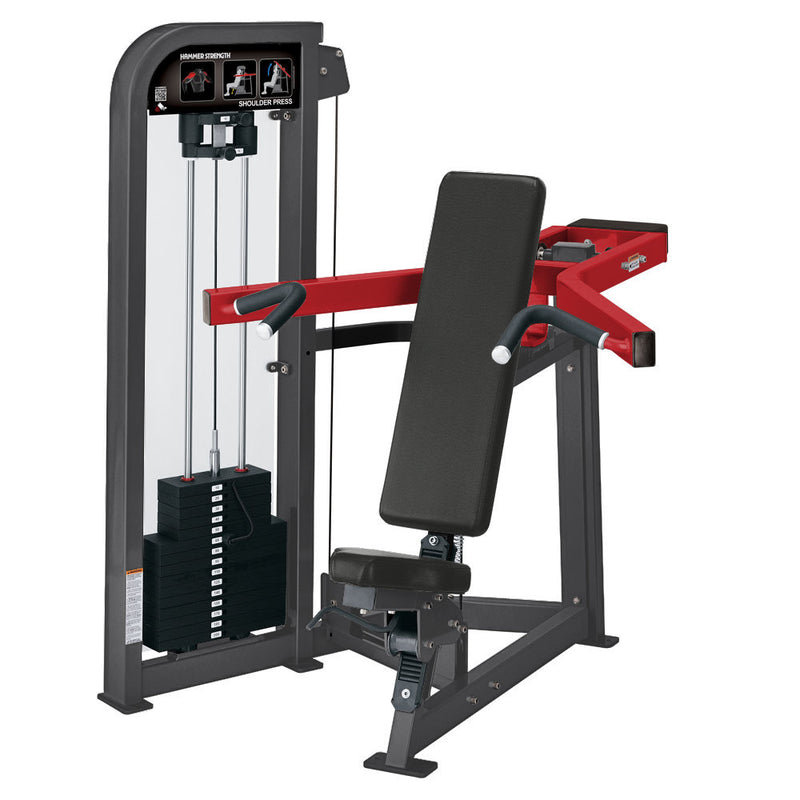 Hammer Strength Select Shoulder Press in titanium and red.