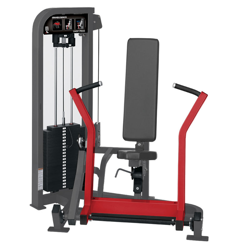 Hammer Strength Select Chest Press in titanium and red.