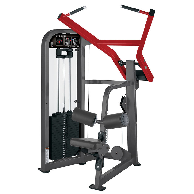 Hammer Strength Select Fixed Pulldown in titanium and red.