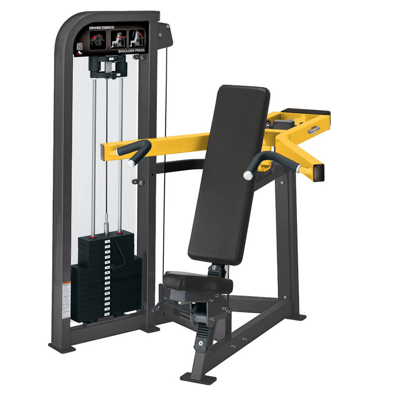 Hammer Strength Select Shoulder Press in titanium and yellow.