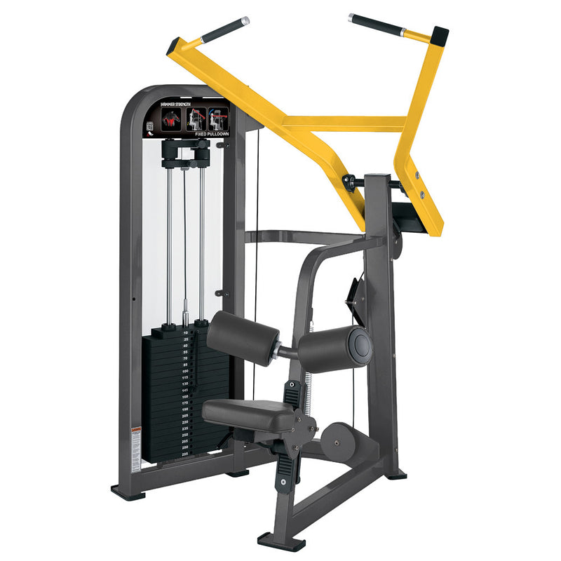 Hammer Strength Select Fixed Pulldown in titanium and yellow.