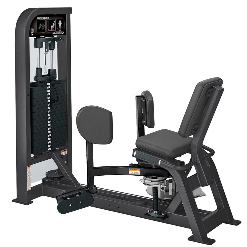 Hammer Strength Select Hip Adduction in titanium and black.
