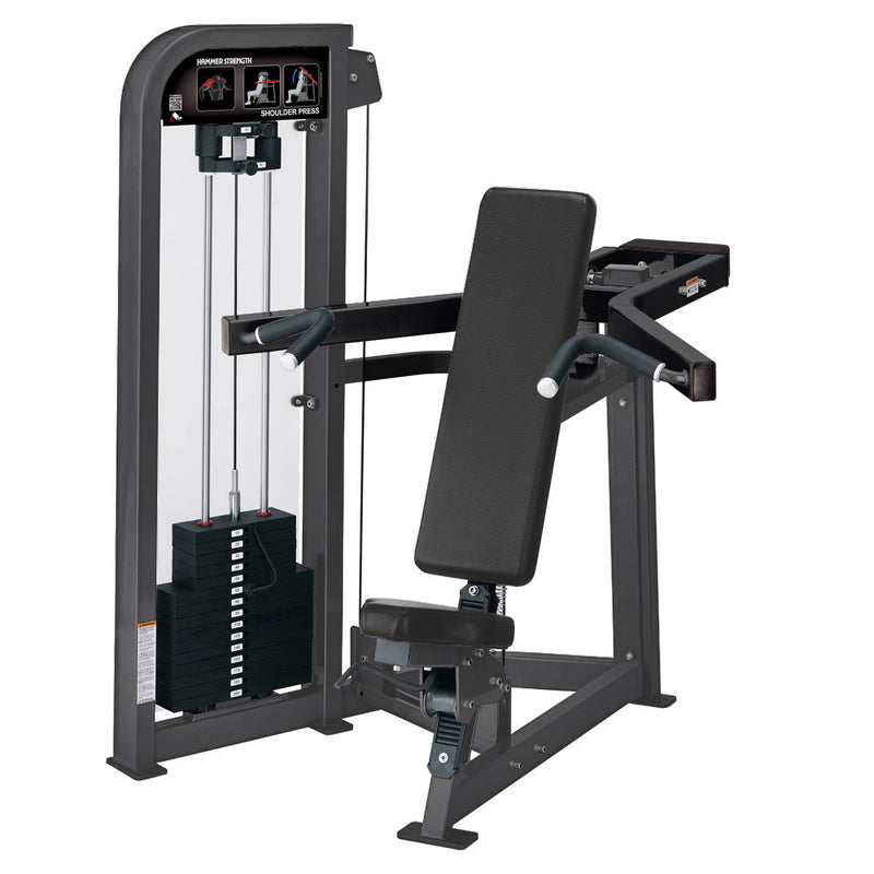 Hammer Strength Select Shoulder Press in titanium and black.