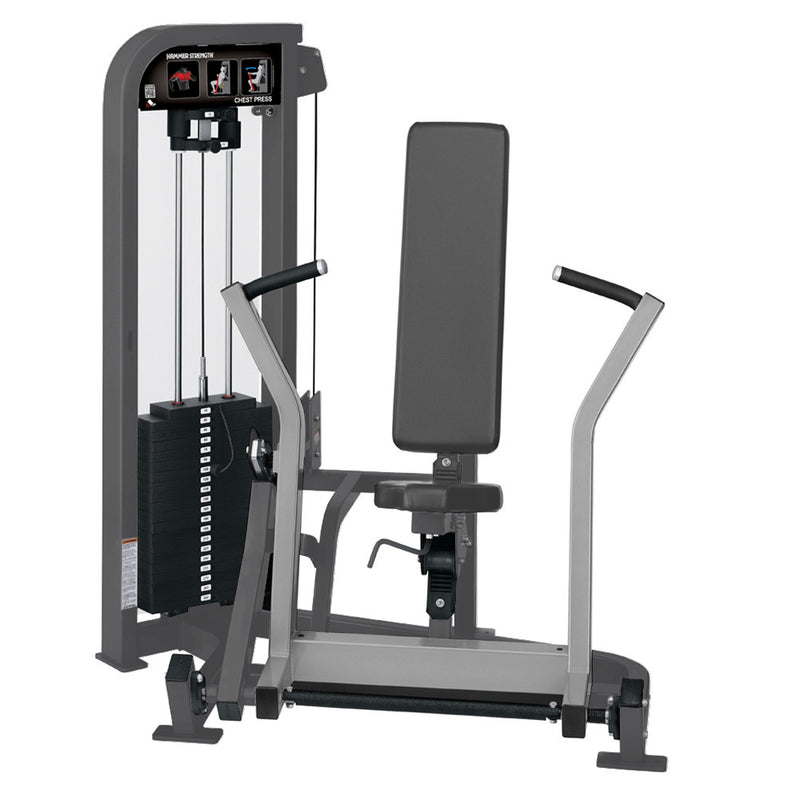Hammer Strength Select Chest Press in titanium and platinum.