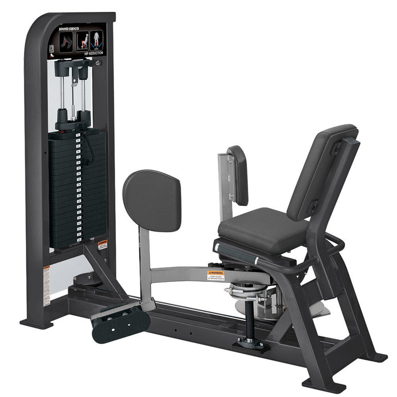 Hammer Strength Select Hip Adduction in titanium and platinum.