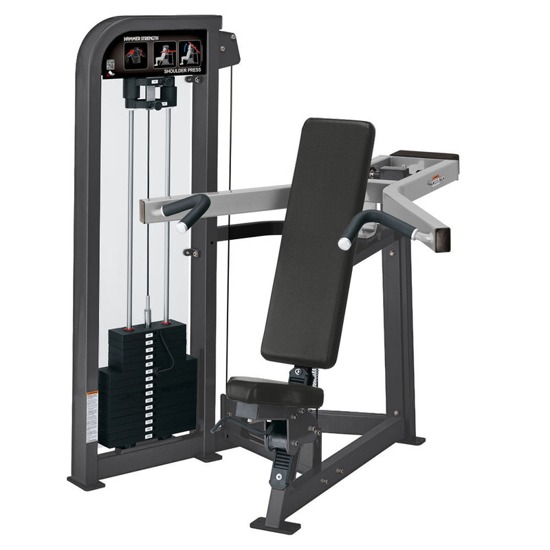 Hammer Strength Select Shoulder Press in titanium and platinum.