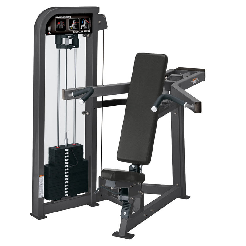 Hammer Strength Select Shoulder Press in all titanium.