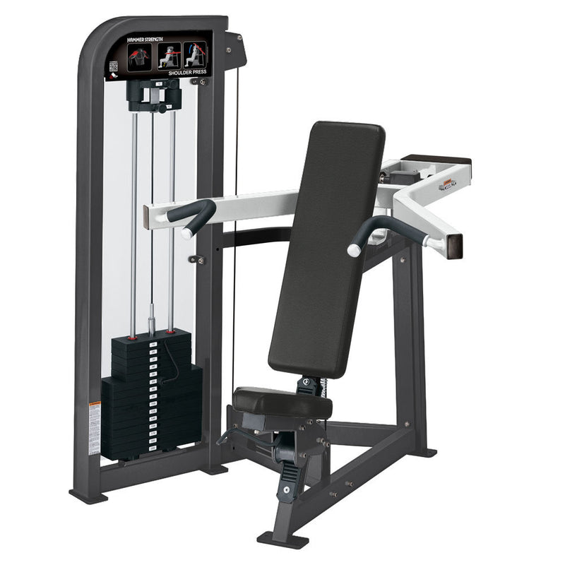Hammer Strength Select Shoulder Press in titanium and white.