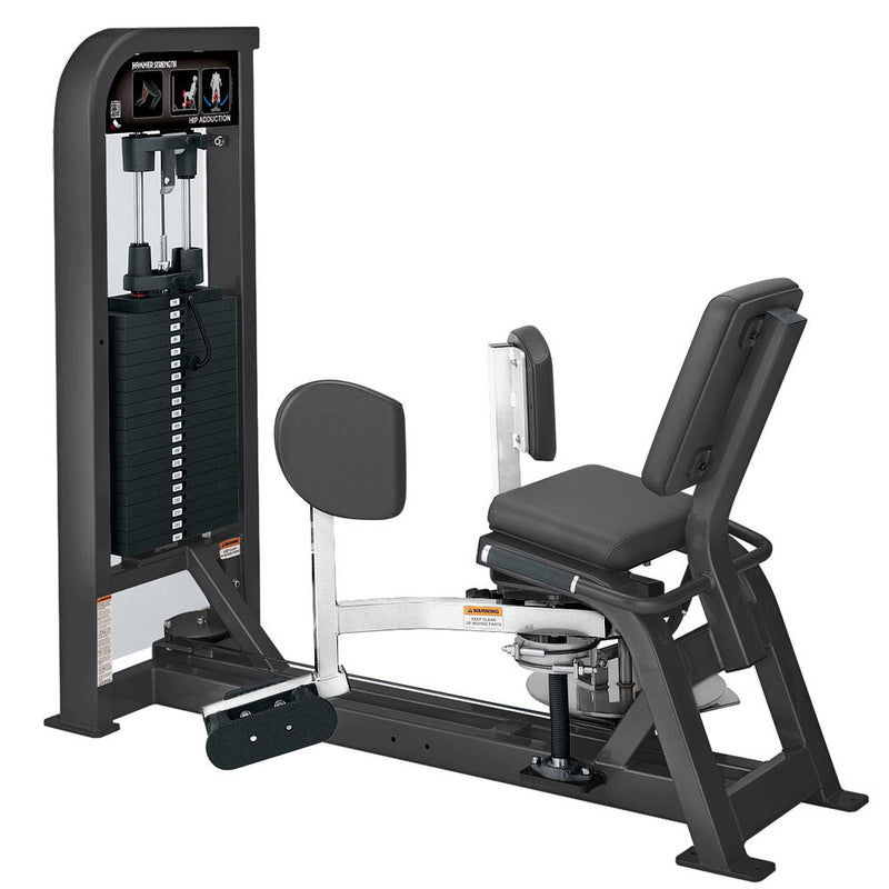 Hammer Strength Select Hip Adduction in titanium and white.