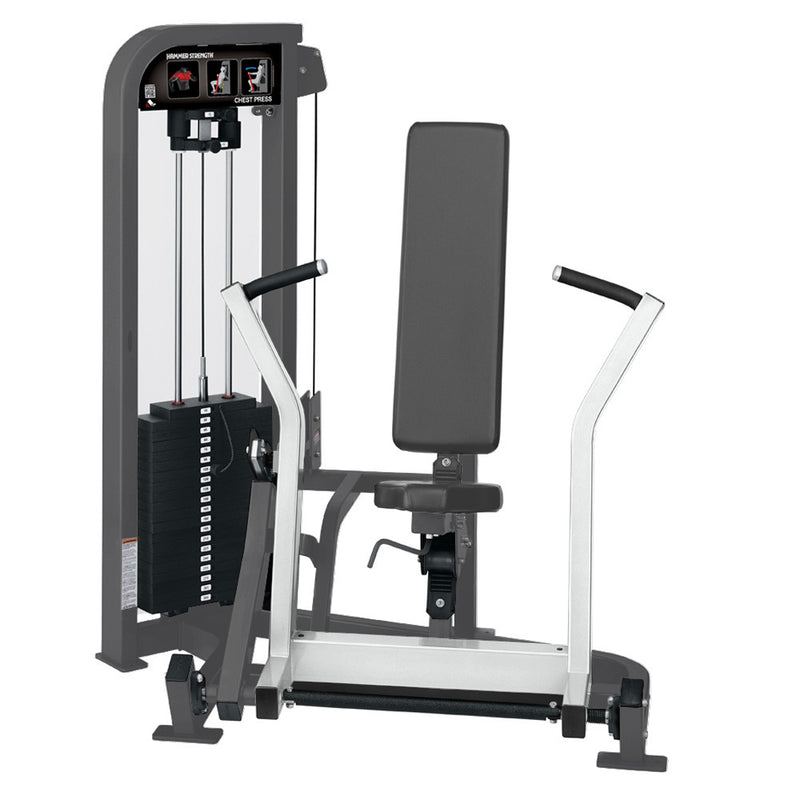 Hammer Strength Select Chest Press in titanium and white.