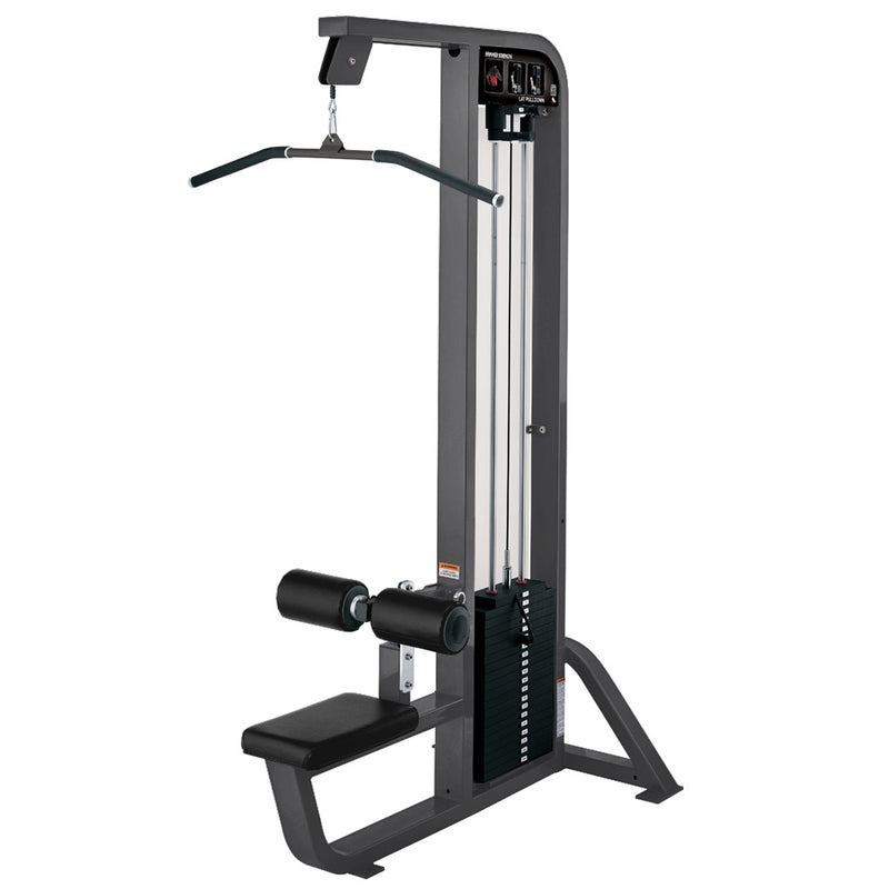 Hammer Strength Select Lat Pulldown in titanium with black leather.