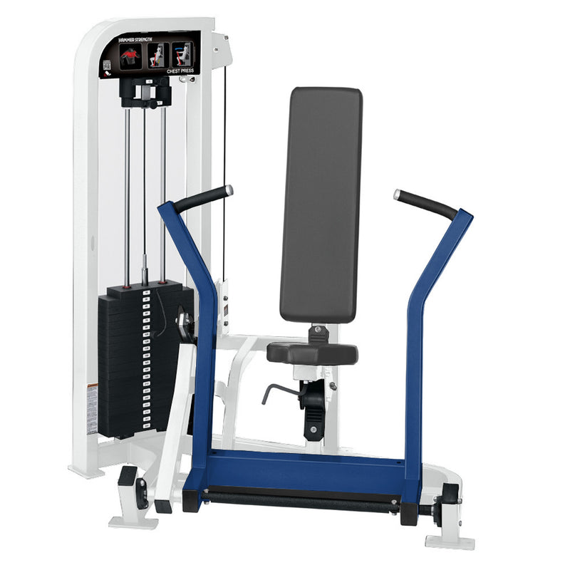 Hammer Strength Select Chest Press in white and blue.