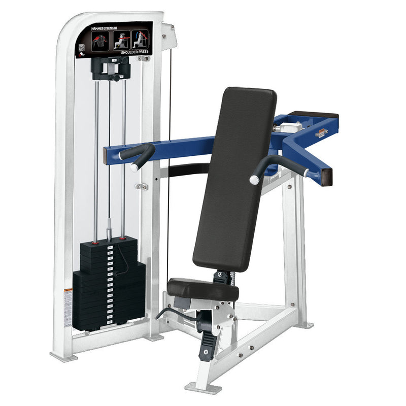 Hammer Strength Select Shoulder Press in white and blue.