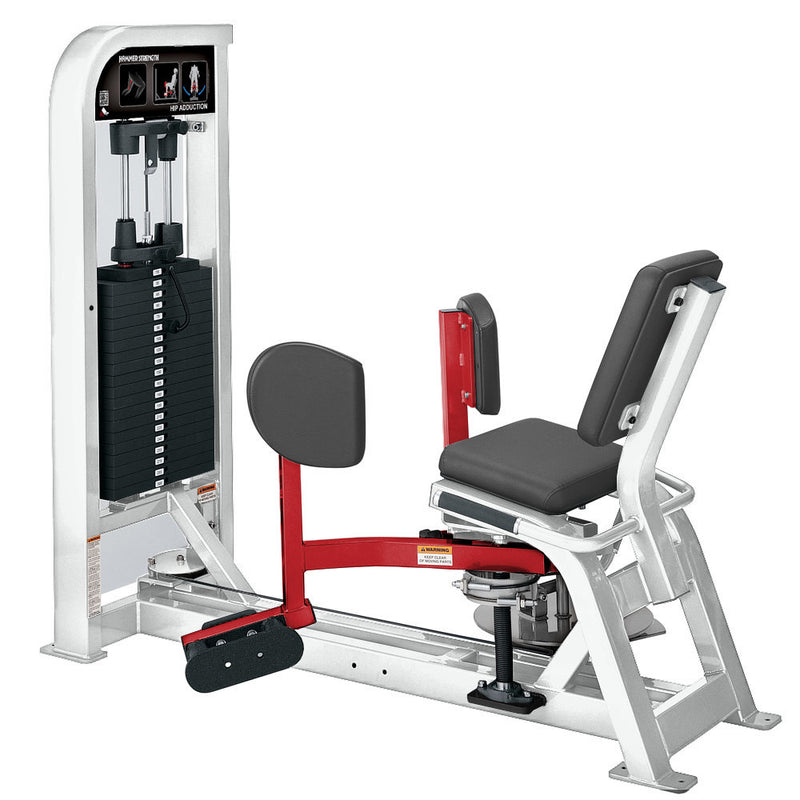 Hammer Strength Select Hip Adduction in white and red.