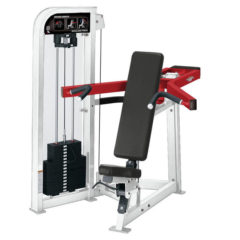 Hammer Strength Select Shoulder Press in white and red.