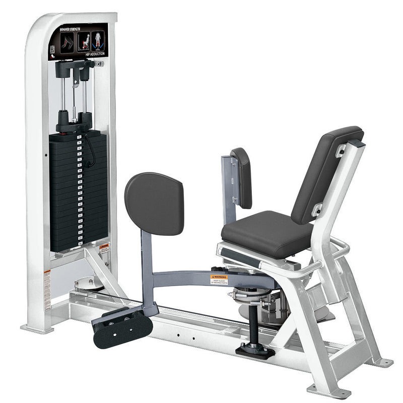 Hammer Strength Select Hip Adduction in white and ice blue metallic.