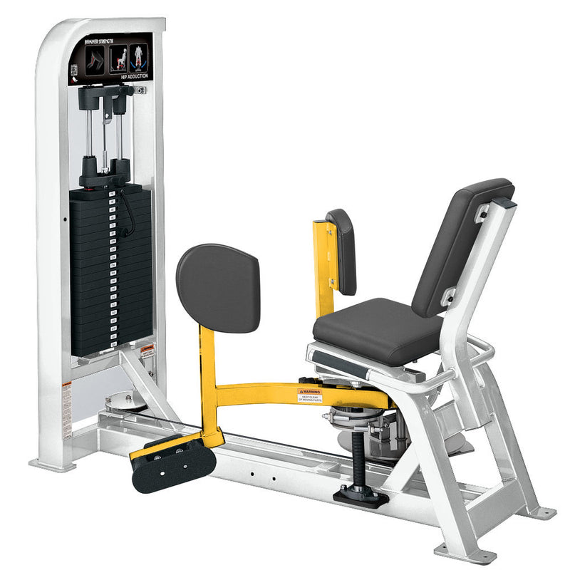 Hammer Strength Select Hip Adduction in white and yellow.