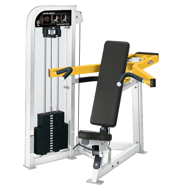 Hammer Strength Select Shoulder Press in white and yellow.